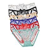 Oasisocean Women's Sexy Lace Panties Low-Waist Lingerie Underwear Briefs Floral Lace Shorts Panty 1/6 Pack