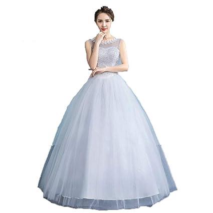 54844c619f6f Vestido de novia Sin mangas de las mujeres con cuentas sin respaldo ...