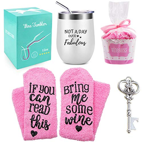 Wine Tumbler with Saying + Cupcake Wine Socks Gift Set | 12 oz Stainless Steel Double Insulated Stemless Wine Glass with Lid and Straw + Key Bottle Opener, Funny Gift for Women (White)