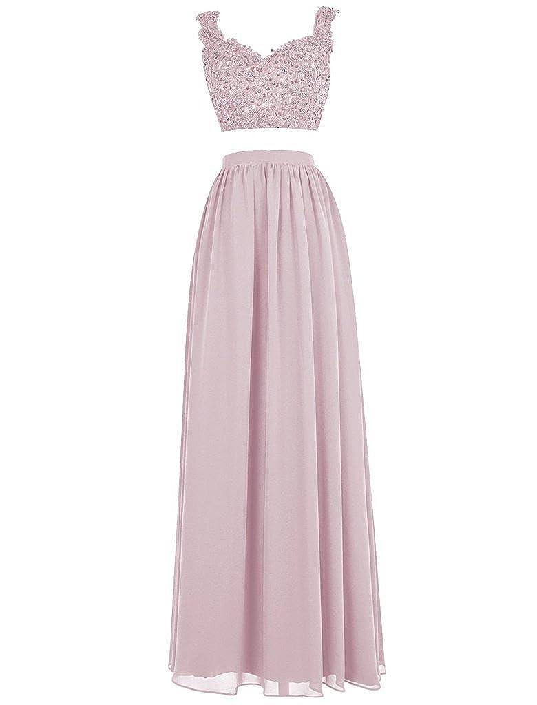 bluesh APXPF Women's Lace Bodice Two Piece Beaded Ball Gown Prom Dress