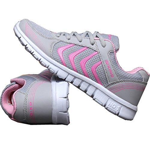 Mesh Schnürer amp;rosa Solshine Flache Sportschuhe Damen Laufschuhe Turnschuhe Fitnessschuhe Grau Sneakers vZqqFYwXx
