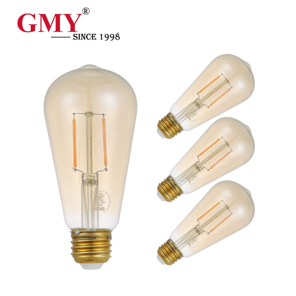 GMY Lighting Edison Led Filament Bulb Vintage Style Bulb ST19 3W Equivalent to 20W 120V E26 2200K Warm White (ST19 3W 4 Pack)