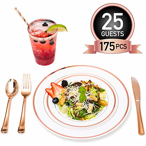 Rose Gold Plastic Dinner Plates Disposable Dinnerware Set for 25 Guests | 12 oz Rimmed Cups & Straws | Cocktail Recipe eBook | 175 Pieces [25 Forks, Knives, Spoons, Cups, Salad & Dinner Plates]