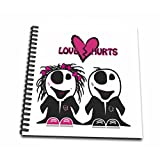 3dRose db_129768_2 Cute Zombie Couple Love Hurts Punk Emo Design Memory Book, 12
