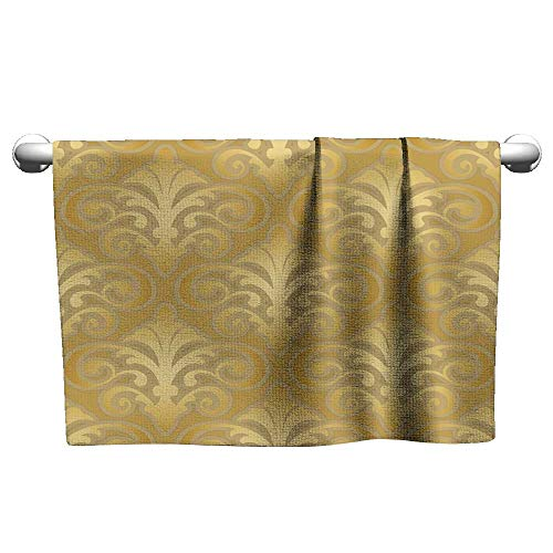Sports Ttowel Seamless Gold Silk Wallpaper Pattern Hair Towels for Women Hand Towels Kitchen 14 x 14 Inch
