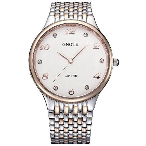 GNOTH Unisex Diamond Minimalist Sapphire Steel Watch Ultra Thin with Big