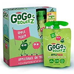 Gogo Squeeze Apple Peach Applesauce 4-3.2 Oz Per Box ( 4 Boxes)