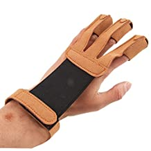 Archery Glove 3 Fingers Arrow Shooting Hunting Protector Gloves - Brown