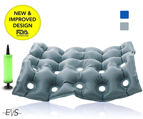 Premium Air Inflatable Seat Cushion 17' X 17' Heat Sealed Construction for Durability, Air Seat Cushion for Wheel Chair and Day to day use . Ideal for Prolonged Sitting .FDA Approved (Gray)