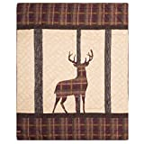 Donna Sharp Brown Antler Woods Quilted Throw