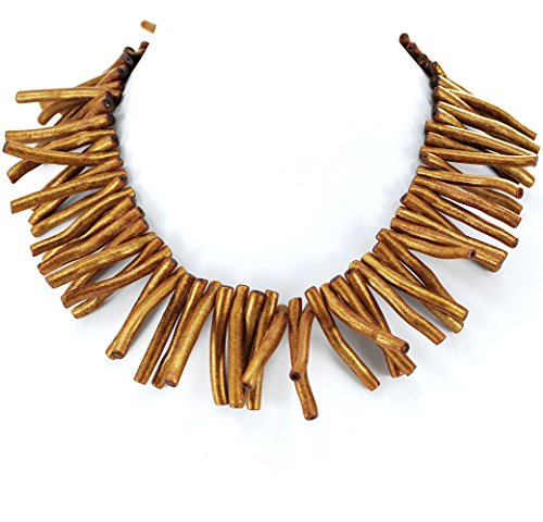 Golden Gold Coral Branch Necklace with Silver Tone Clasp 17