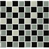 GLASS EFFECT BLACK AND GREY Mosaic tile transfers STICKERS - , peel and stick transform your bathroom or kitchen VERY REALISTIC by LPS