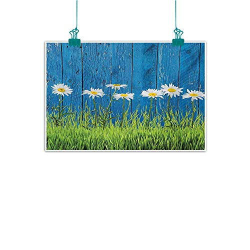 Football Daisy Canvas Vintage (Mdxizc Abstract Art Oil Painting Flower Fresh Springtime Grass and Daisy on Fence Summer Simple Vintage Style Print Decorative Painted Sofa Background Wall W28 xL20 Blue Green White)