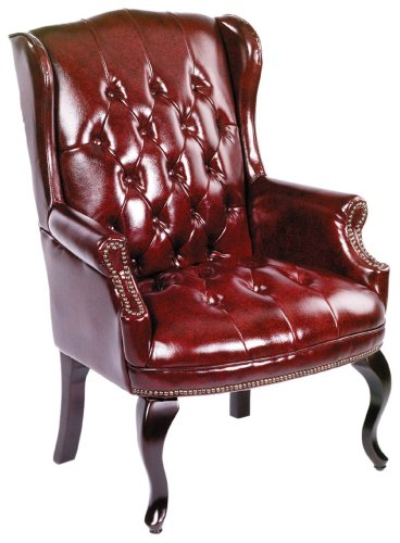 Boss Office Products B809-BY Wingback Traditional Guest Chair in Burgundy