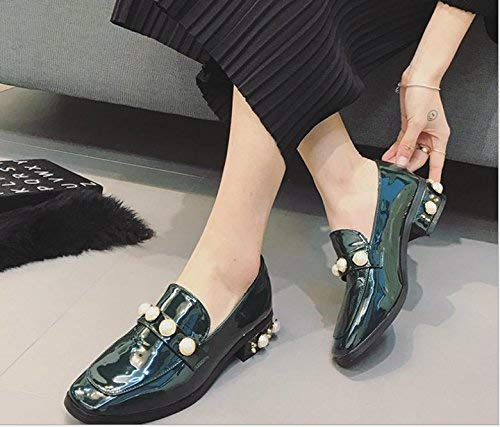 Lady Classic The Vintage Pearl Shoes Woman Square Head Shoes with Rough with a Small Pearl Leather Shoes for Women Black
