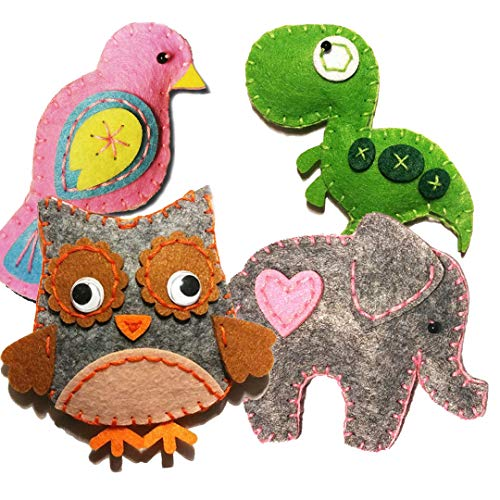 MP Happy Felties 4 Pack # 1 - Felt Animal Crafting Sewing Kit and Animal Crafts- Fun DIY Stuffed Animal Craft and Sew Kits for Kids Boys and Girls