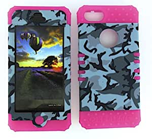 SHOCKPROOF HYBRID CELL PHONE COVER PROTECTOR FACEPLATE HARD CASE AND HOT PINK SKIN WITH STYLUS PEN. KOOL KASE ROCKER FOR APPLE IPHONE 5 5S CAMO MA-TE411