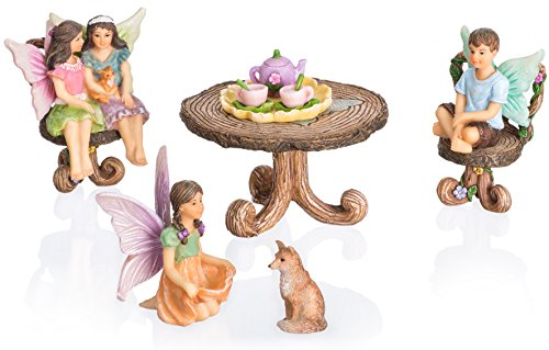 Joykick Fairy Garden Bistro Kit - Miniature Hand Painted Figurine Statues with Accessories - Set of 11pcs for Your House or Lawn Decor
