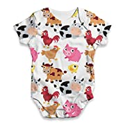 TWISTED ENVY Baby Unisex Farm Yard Animal All-Over Print Bodysuit Baby Grow Baby Romper 0-3 Months White