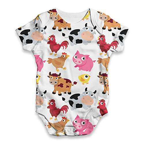 Twisted Envy Baby Unisex Farm Yard Animal ALL-OVER PRINT Bodysuit Baby Grow Baby Romper 6 - 12 Months White
