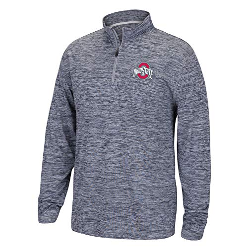 (Top of the World NCAA Men's Ohio State Buckeyes Dark Heather Space Dyed Poly Quarter Zip Pullover Graphite Medium)