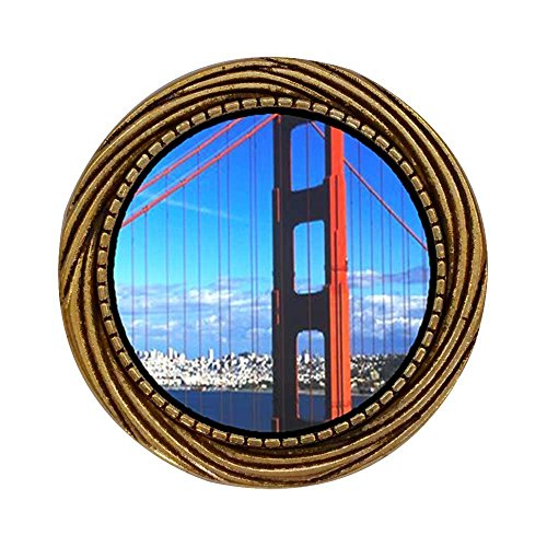 GiftJewelryShop Ancient Style Gold-plated Travel Golden Gate Bridge Winding Pattern Pins Brooch (Winding Gate)
