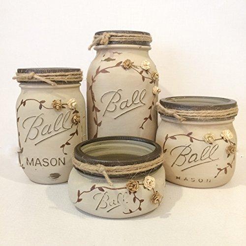 (Antique finish Ivory Mason Jar Office)