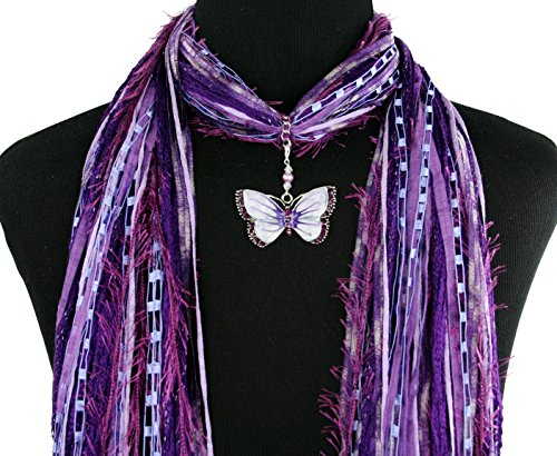 Purple Butterfly Necklace Scarf ~ Enamel and Crystals ~ Boho Fringe Ribbon Art Scarf ~ Lightweight All Season Fibers~ Detachable Pendant Option
