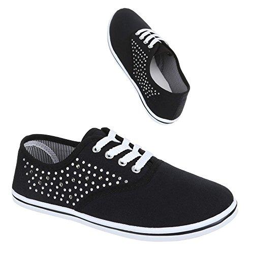 Ital-Design - Zapatillas de tela para mujer Negro - negro