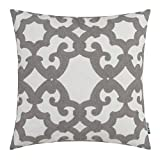 HWY 50 Grey Embroidered Decorative Throw Pillow Covers Cushion Cases for Couch Sofa Living Room Gray Farmhouse European Geometric Window Grille 18x18 inch, 1 Piece