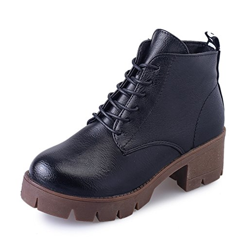 En las botas de otoño e invierno/Pesadas botas con cabeza redonda Martin/ barril corto invierno botas/Encaje retro botas-A Longitud del pie=23.8CM(9.4Inch)