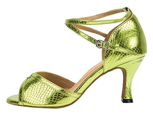 Tda Womens Gesp Strappy Slangenhuid Synthetische Salsa Tango Ballroom Latin Moderne Dans Trouwschoenen 7,5 Cm Hak Groen