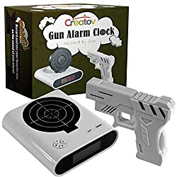 Target Alarm Clock With Gun, Infrared target and Realistic Sound Effects infrared 0.8 mw -White- By Creatov -No batteries included