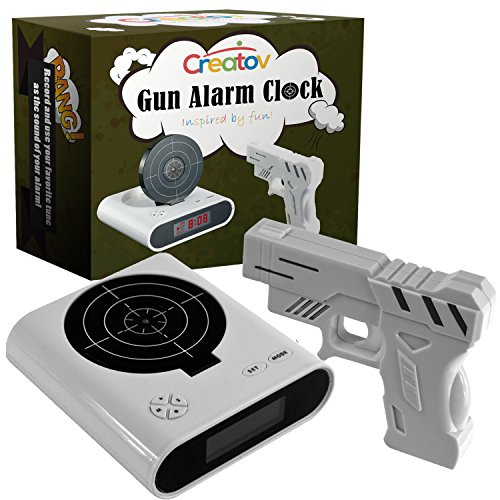 Target Alarm Clock With Gun, Infrared target and Realistic Sound Effects infrared 0.8 mw -White- By Creatov