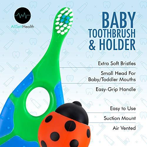 51AOFuytydL - 6 Pack - Baby Toothbrush, 0-2 Years, Soft Bristles, BPA Free | Toddler Toothbrush, Infant Toothbrush, Training Toothbrush, Includes Free Toothbrush Holder