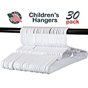Premium Children's Hangers, Very Durable Heavy Duty Tubular Hangers, Made in The USA to Last a Lifetime! Designed to Fit Children Babies Value Pack of 30 - White