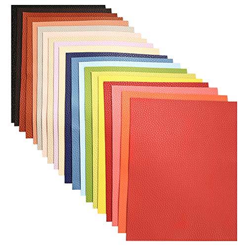 [해외]Caydo 20 피스 리치 원단 다양한 색상 PU 가죽 원단 시트 솔리드 컬러 플레인 면 백 만들기용 공예 DIY 바느질 6.3 x 8.3 (16 cm x 21 cm) / Caydo 20 Pieces Litchi Fauxs Leather Sheets for Bows, Earring Making and Bags Craft DIY, 6.3 x 8.3
