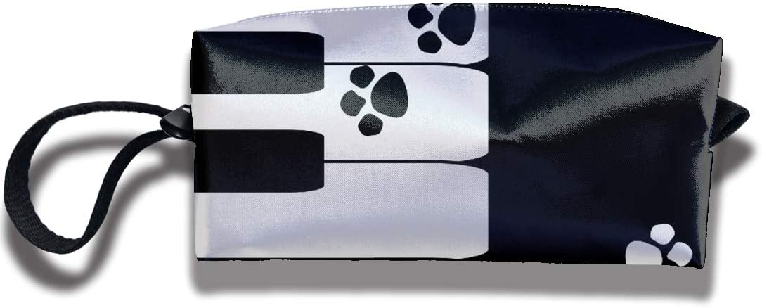 TDynasty Multifunction Piano Black and White Key Dog Claw Make Up Mini Bag Coin Purse Zipper Travel Bag