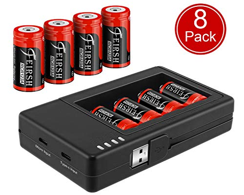 CR123A Rechargeable Batteries and Charger, RCR123A Lithium ion Battery Charger with 8 Pack 3.7V 800mAH Batteries for Arlo Security Cameras Alarm ()