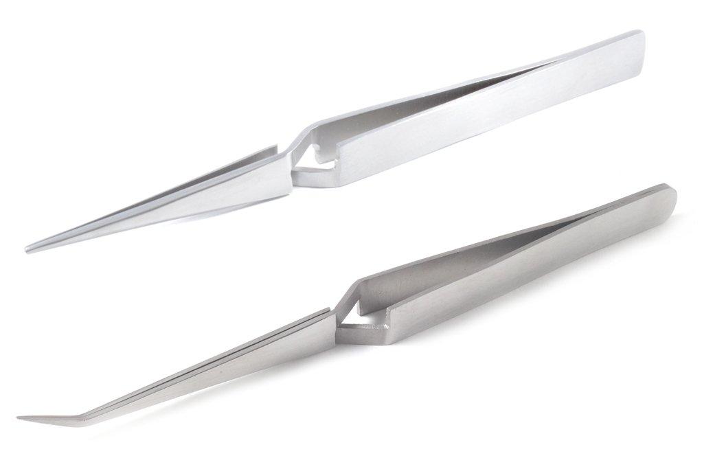 blueINOX Pinzetten-Set: 2 Lö tpinzetten/Kreuzpinzetten / Industrie-Pinzetten/Technischen Pinzetten mit gerader und abgewinkelter Spitze Edelstahl rostfrei