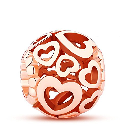 Glamulet Rose Gold Love Charms 925 Sterling Silver Heart Shape Openwork Beads Fits Pandora Bracelet, Ideal Jewelry Gifts by Glamulet