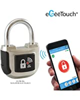 eGeeTouch Smart Padlock 2nd Gen UPGRADED with Patented DUAL Bluetooth + NFC Technologies for Apple, Android phones & Watch (Silver)