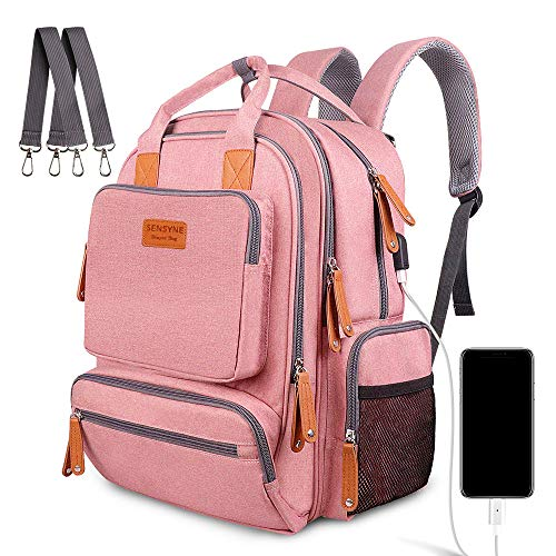 Diaper Bag Backpack, Sensyne Multifunction Travel Back Pack Maternity Baby Nappy Bags with USB Charging Port & Stroller Straps, Large Capacity, Waterproof and Stylish, Pink
