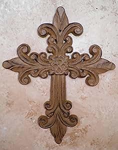 Cast Iron Victorian Fleur De Lis Wall Cross