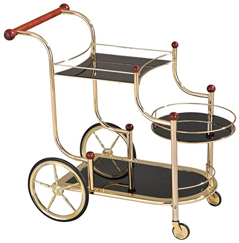 Glass Serving Cart - ACME Furniture Acme 98006 Lacy Glass Serving Cart, Golden Plated & Cherry Wood