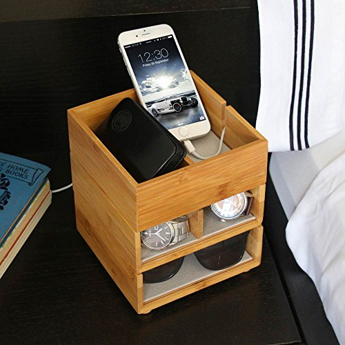 Wardrobe Mens Valet (G.U.S. Stackable 3-Tiered Bamboo & Acrylic Valet - with Cell Phone Cradle)