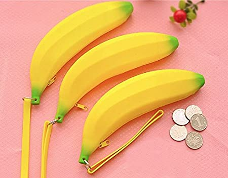 Blue Banana Emoji Black /& Yellow Purse Novelty  Coin Holder