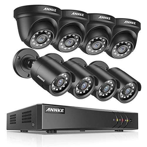 ANNKE Surveillance Security Camera System 5MP Lite 8CH Video DVR Recorder with (8) 2.0MP 1920TVL Bullet/Dome Weatherproof CCTV Cameras, NO Hard Drive-S300