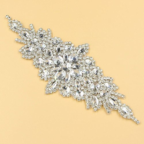 (1 Pc Gleaming Wedding Applique Crystal Rhinestone Trim Ribbon Sash /Bridal Applique)