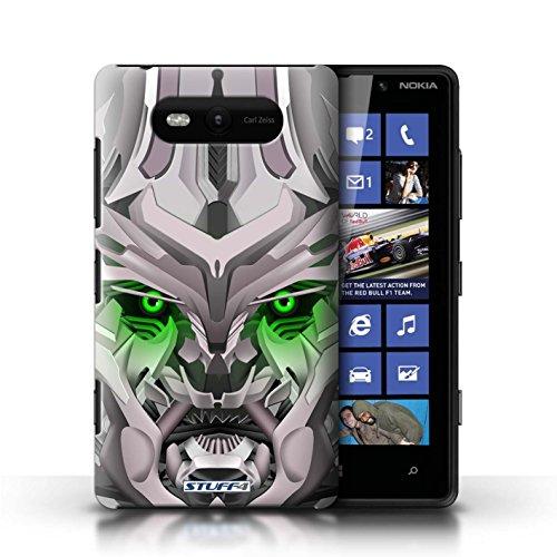 Etui / Coque pour Nokia Lumia 820 / Mega-Bot Vert conception / Collection de Robots